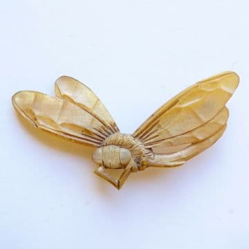 Art Nouveau Georges Flamand & Bonte  Signed Horn Bee / Dragonfly Brooch
